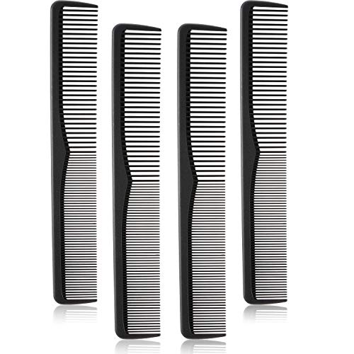 4 Pieces Carbon Fiber Cutting Comb Fine and Wide Tooth Hair Styling Barber Comb Carbon Salon Hairdressing Comb Heat Resistant Barber Comb for Salon, Black