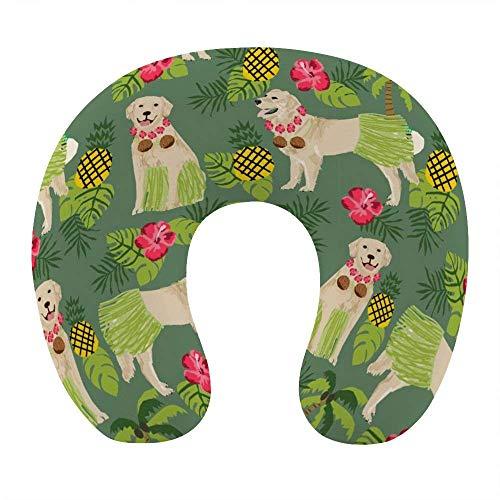 Almohada de moda para el cuello para viajes en avión, oficina en casa, cómoda almohada para dormir con soporte para el cuello en forma de U con funda extraíble y lavable, perro Golden Retrieve