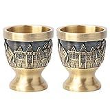 Copas de copa, tazas de fiesta de beber de elefante talladas de metal vintage antiguo antiguo pequeño vino taza de té taza de bebida copa de vino copa de vino arte artesanía decoración del hogar