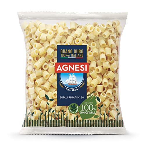 Agnesi Ditali rigati | Pastina di semola di grano duro 100% italiano | Confezione compostabile da 500 grammi