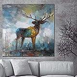 Stampa Acquerello Artistico Cervo Alce Pittura astratta su tela Animale Pop Art Modern Cuadros Decor Immagine da parete per soggiorno 20x20 CM (sans cadre)