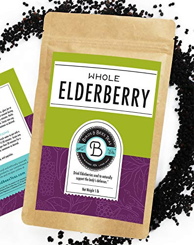 Birds & Bees Teas - Elderberries Organic - Dried 1 lb Bulk, Makes Great Black Elderberry Tea and Sambucus Nigra is Known for It's Immune System Booster Properties as Syrup, Popsicles, and Gummies!