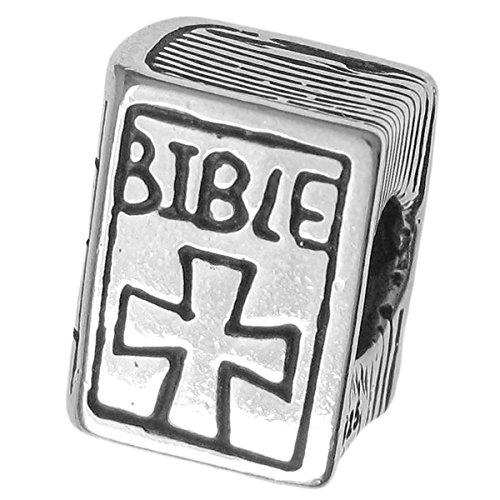 Cuentas de cruz de plata de ley 925 con diseño de Biblia Cristiana pa
