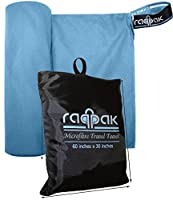 Microfiber Towel for Travel, Beach, Bath, Gym, Camping - XL Extra Large but Compact, Antibacterial and Quick Dry with Small Carry Pouch (Blue, 60 x 30 Inches)