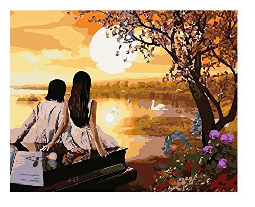 HU0QWPKU kinderen schilderen op nummers, olie- zonsondergang paar op piano, landschap, doe-het-zelf, mooie romantische olieschilderingen, canvas, kunst, wooncultuur, kleur kunst, cadeau voor kinderen 30 cm x 40 cm.