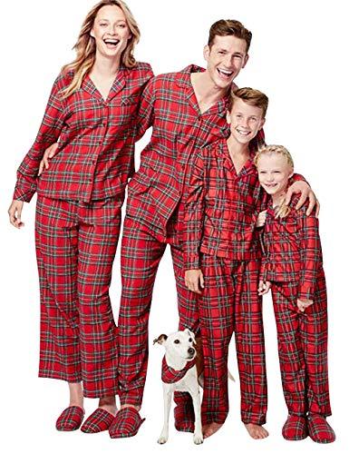 Landove Donna Pigiama Famiglia Natale Set Vintage Tartan di stile Tuta da notte Costumi Interi Due Pezzi Pantaloni CN M (Pi piccola) Uomo