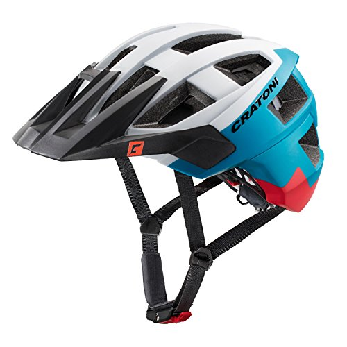 Cratoni Kinder AllSet Fahrradhelm, White/Blue/Red Matt, M-L