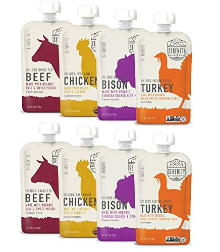 Serenity Kids Baby Food, Ethically Sourced Meats Variety Pack with Free Range Chicken, Grass Fed Bison, Pasture Raised Turkey, and Grass Fed Beef, For 6+ Months, 3.5 Ounce Pouch (8 Pack)
