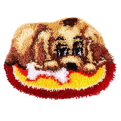 QH-Shop Kit Gancio di Chiusura Tappeto Modello Animale del Cane Tappeto da Ricamo Fai da Te Fare Decorazioni per la Casa 19.6 inch X 14.17 inch