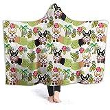 Manta de forro polar con capucha Inaayi, manta de corgi galés, tropical, hawaiano, hula perros, divertida, de algas, supersuave, manta para cama, sofá, ligera, para viajes, camping, para niños y adultos, negro, 80'x60'