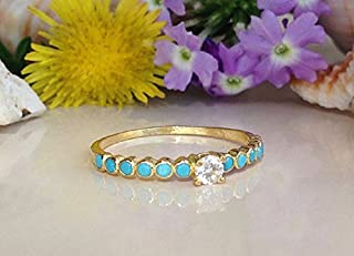 Turquoise Ring - Sleeping Beauty Turquoise - Delicate Ring - Stack Ring - Slim Band - Simple Jewelry - Bezel Set Ring