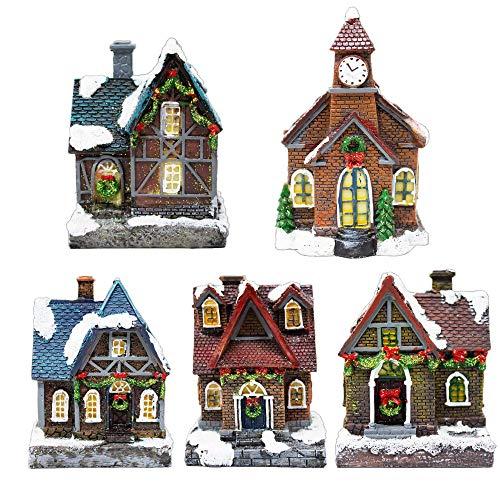 ToCi - Pueblo navideño iluminado con 5 casas de Navidad, iluminación LED multicolor, decoración navideña, decoración de ventanas, funciona con pilas