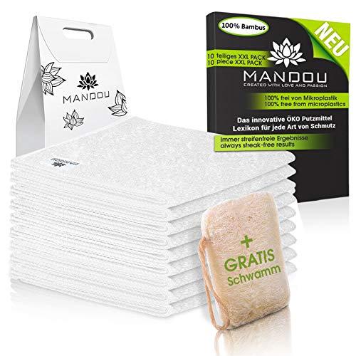 LÖWENKÖNIG® - MANDOU Edition 2021 - Edle Putztücher Weiß aus 100% Bambus [9 STÜCK] - Perfekt geeignet für Küche,Bad, Haushalt & Fenster Reinigung - Waschmaschinen/Trockner geeignet