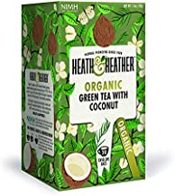 Organic Green Tea with Coconut| 20 bags per Pack| 100% USDA Certified Organic| Natural Coconut Flavoring With No Additives/ Sugar| Vegan, Vegetarian, Allergen-Free, Kosher Chai