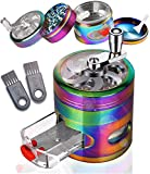 Herb Grinder, Foocal 4-Piece Spice Grinder with Pollen Catcher, Zinc Alloy Manual Grinder with Handle, 2.5Inches Rainbow...