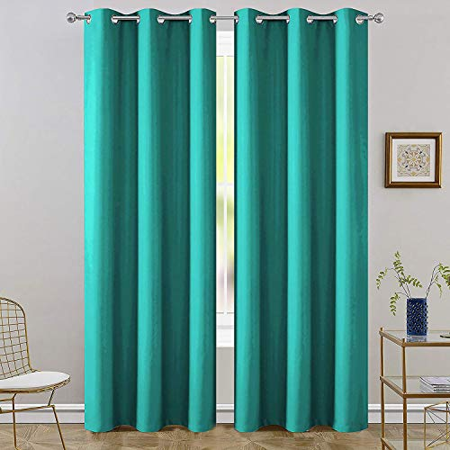 FLOWEROOM Room Darkening Blackout Curtains Thermal Insulated Draperies with Grommet for Living Room, Turquoise, 42 x 72 inch, 2 Panels
