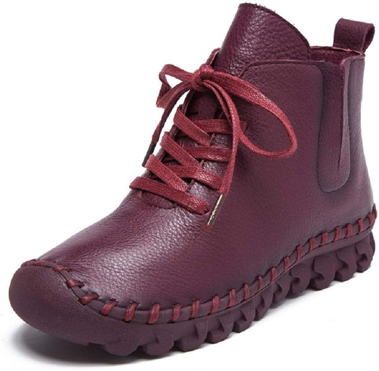 Fuxitoggo Schnüren Sich Oben Stiefel Frauen Flache Leder Ankle Low Heel Schuhe (Farbe   Rot, Gre   EU 41)