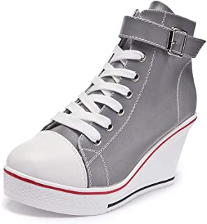 Women's Wedges Sneaker High-Heeled Canvas Shoes Platform High Top Fashion Walking Sneakers