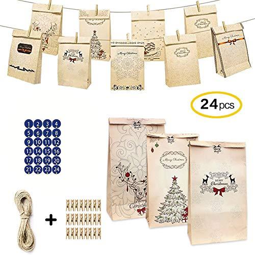 LHSDJ Adventskalender Zum Befüllen 24 Papiertüten Mit Zahlen Aufkleber + Mini-Holzklammern Und 10m Jute Hanfseile, Weihnachtskalender Tüten Geschenkbeutel