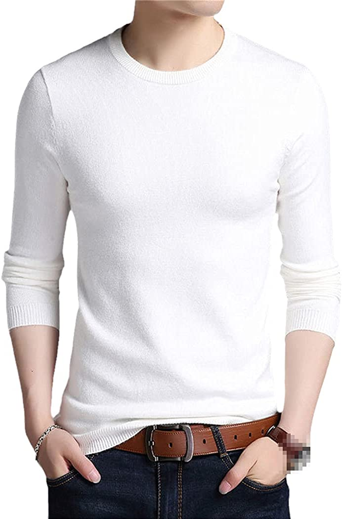 Mens Knitted O Neck Sweater Men Pullover Tops Clothes Knit Solid Sweaters Pullovers