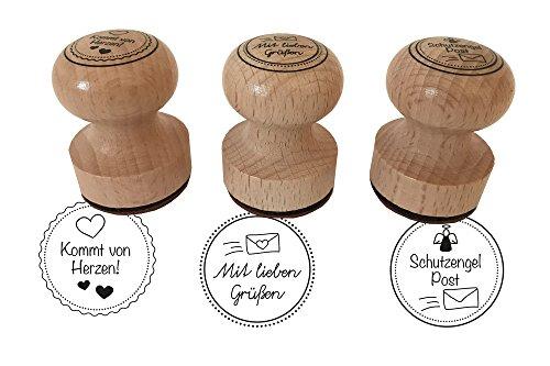 EAST-WEST Trading GmbH Stempel 3er Set Kommt von Herzen, Mit Lieben Grüßen, Schutzengelpost, 3 cm Durchmesser, Holzstempel