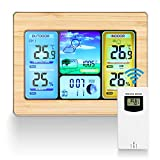 Allnice Weather Stations Wireless Indoor Outdoor with Alert and Temperature/Humidity/Barometric/Forecast/Moon Phase/Alarm Clock, LCD Digital Weather Station with Outdoor Sensor (Yellow)