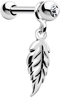 Body Candy 925 Silver Falling Feather Dangle Cartilage Earring