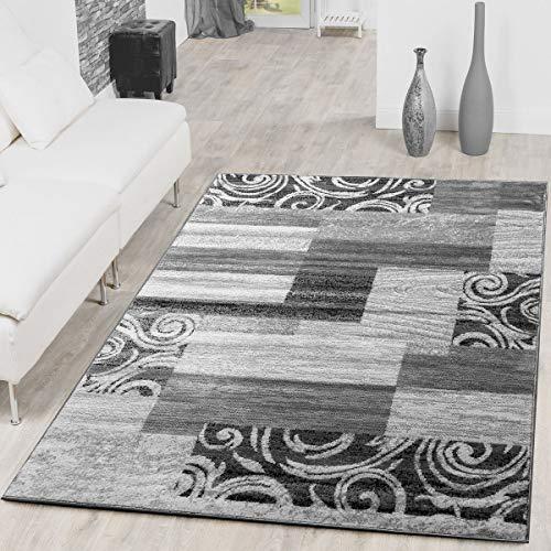 T&T Design Alfombra De Salón Económica De Diseño Patchwork En Gris Crema, Größe:160x220 cm
