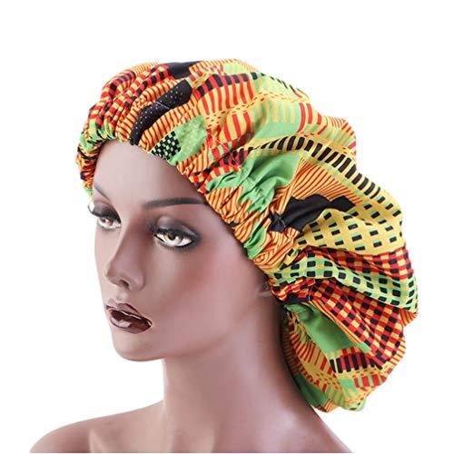 KESYOO Sleep Night Cap Large Band Réglable Bonnet Night Head Cover Soft Hair Turban Chemo Cap Hair Loss Hat pour Les Femmes (Vert)
