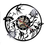 Pecera De Acuario, Reloj De Pared con Registro De Peces Dorados, Decoración del Hogar, Peces Tropicales, Grabado De Animales Marinos, Gramófono, Reloj De Grabación De Música