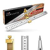 Garlavie Metro in metallo con ago da disegno, 300 mm, in acciaio inox, righello con ago da taglio in acciaio al tungsteno, strumento per falegnameria per hobby e professionisti