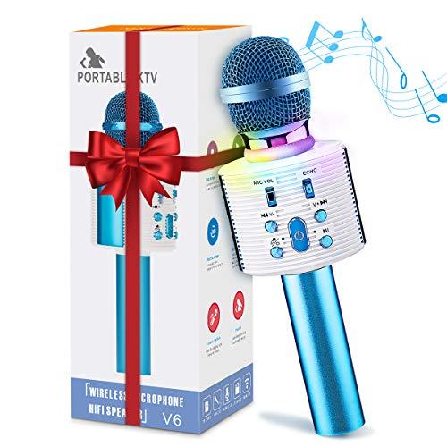 Karaoke bluetooth Mikrofon, NASUM Drahtlose Tragbares Handmikrofon 5 Klangmodi mit Lautsprecher für Erwachsene und Kinder für Sprach- und Gesangsaufnahmen, für Android/PC