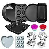 Metallic Nonstick Oven Bakeware Baking Set, Bread Loaf Pan Baking Set with Muffin Tray, Oven Tray, Cake Pizza Pan, Spring Form Cake Tin etc,Perfect Baking Tool (Black)