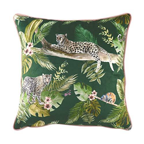Evans Lichfield Jungle Leopard - Cuscino imbottito in poliestere, 43 x 43 cm, colore: Verde