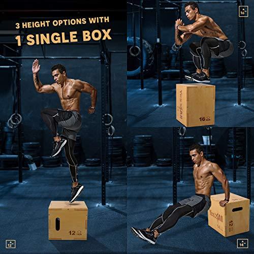 Yes4All Wood Plyo Box/Wooden Plyo Box for Exercise, Crossfit Training, MMA, Plyometric Agility – 3 in 1 Plyo Box/Plyo Jump Box (16/14/12)