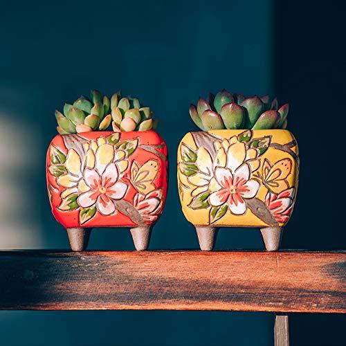 Sungmor Set van 4 - Mooie Handwerk Bloem Stijl Keramische Planter - Succulente Cactus Plant Pot - Mooie Desktop Vensterbank Landschap Bloempot - Huis & Kantoor Decor Pots - Eenvoudige Gift Idee