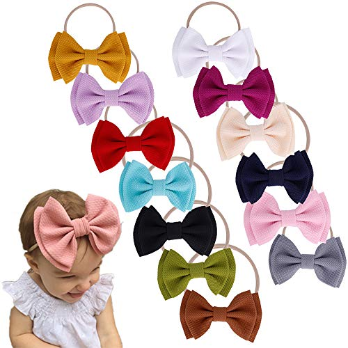 Baby Nylon Knotted Headbands Girls Head Wraps Infant Toddler Hairbands and Bows (ASPS620)