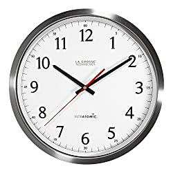 La Crosse Technology 404‐1235UA‐SS 14 Inch UltrAtomic Analog Stainless Steel Wall Clock