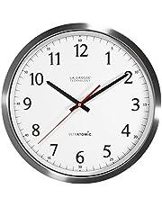 ساعة حائط من لا كراس تكنولوجي 404‐1235UA‐SS 14 انش الترا اتوميك ستانلس ستيل انالوج