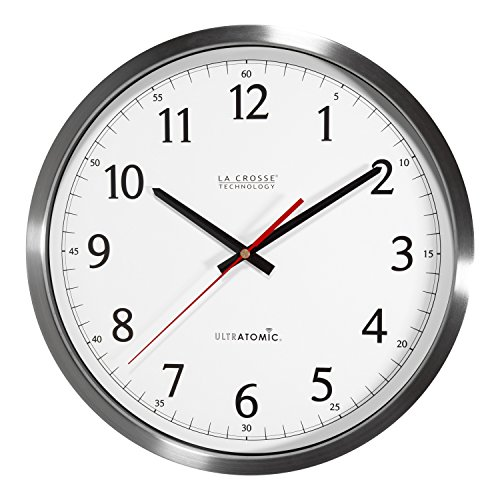 Classic Wall Clock with Stainless Steel Case and White Face