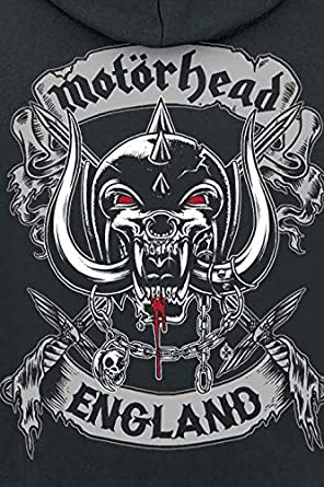Mot/örhead Cross Swords England Crest M/änner Kapuzenpullover schwarz Band-Merch Bands