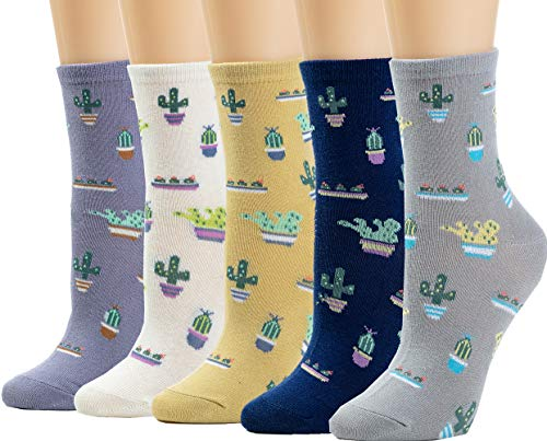 5 Pairs Women's Crew Socks Casual Fun Cute Cacti Socks Funny Novelty Ladies Gifts for Women Ladies Children Gift Girls Cotton Socks WCS1-Cactus