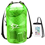 Piscifun Waterproof Dry Bag with Phone Case for Women and Men, Transparent Dry Bag Lightweight Dry Bag Backpack for Beach, Swimming, Boating, Kayaking, Surfing and Fishing 2L Green