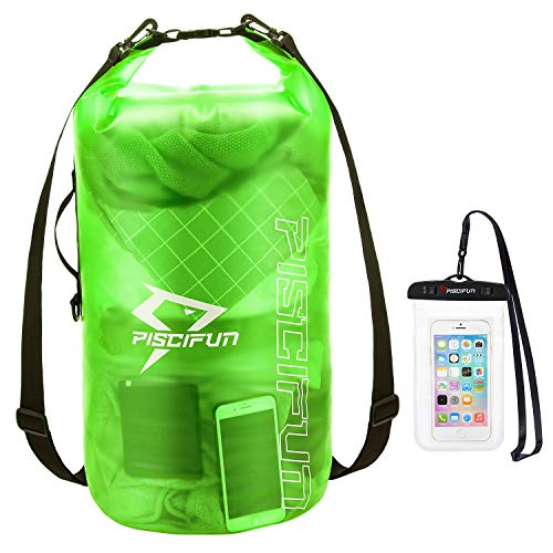 Piscifun Waterproof Dry Bag with Phone Case for Women and Men, Transparent Dry Bag Lightweight Dry Bag Backpack for Beach, Swimming, Boating, Kayaking, Surfing and Fishing40L Green