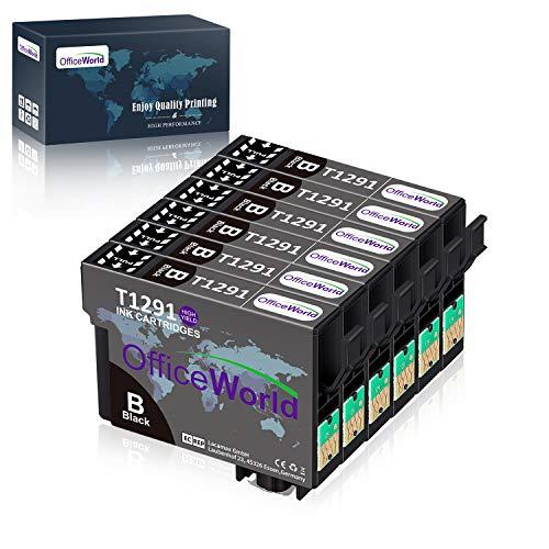 OfficeWorld Ersatz für Epson T1291 Schwarz Druckerpatronen Kompatibel für Epson Stylus SX435W SX235W SX420W SX230 SX425W SX440W SX445W, Epson Stylus Office BX535wd
