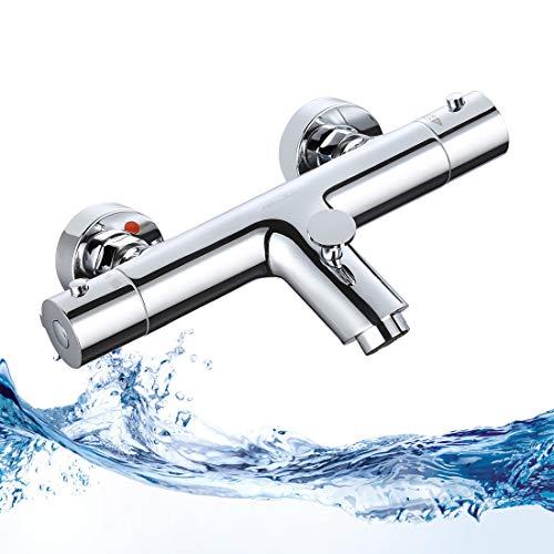 ARCORA Badewannenarmatur Wannenthermostat Armatur Wannenarmatur Mischbatterie Badewanne Wannen Thermostat Armatur für Badewanne Wasserfall Wasserhahn Badzimmer