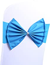 FHelectronic Wedding Chair Sashes Bow Spandex Chair Cover Bands Party Chair Ribbons fit for Wedding Party Engagement Event Birthday Graduation Meeting Banquet Decoration (Peacock Blue, 10Pieces)