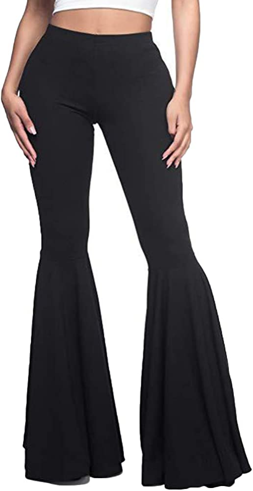 Chicago Price reduction Mall GUOLEZEEV Women High Waisted Flare Fashion Ple Solid Color Pants
