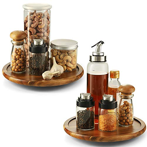 10 Lazy Susan Turntable Wood Pack 2 - Kitchen Turntable Storage Food Bin Container for Kitchen Cabinets Pantry Refrigerator Counter top Acacia Wood
