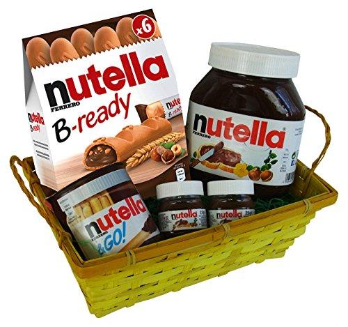 Cesta Regalo para Pascua, San Valentin, Navidad y Aniversario con Ferrero Nutella (5 piezas)